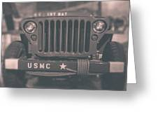 Marine Corps Jeep In Black And White Greeting Card
