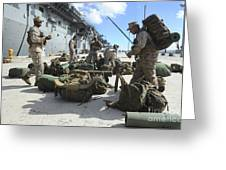 Marines Move Gear During An Embarkation Greeting Card
