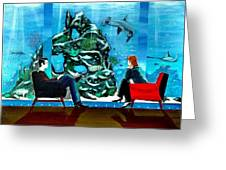 Marinelife Observing Couple Sitting In Chairs Greeting Card