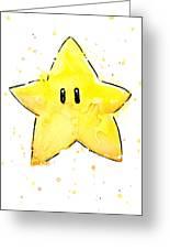 Mario Invincibility Star Watercolor Greeting Card
