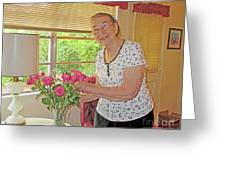 Marion Loves Roses Greeting Card