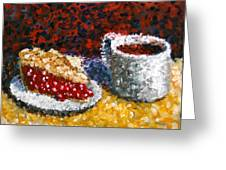 Mark Webster - Impressionist Cherry Pie With Coffee Acrylic Still Life Painting Greeting Card by Mark Webster