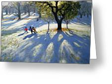 Markeaton Park Early Snow Greeting Card