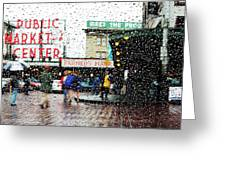 Market In Rain J005 Greeting Card