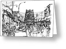 Market Place - Urban Life Outside Temple India Greeting Card