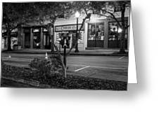 Market Street At Night In Black And White Greeting Card