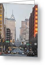 Market Street Philadelphia - In The Morning Greeting Card
