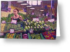 Market Veggie Vendor Greeting Card