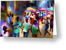 Marketplace At Night Cap Haitien Greeting Card by Bob Salo
