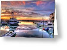 Marlin Quay Marina At Sunset Greeting Card