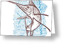 Marlin Woodcut Greeting Card by Aloysius Patrimonio