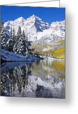 Maroon Lake And Bells 2 Greeting Card by Ron Dahlquist - Printscapes