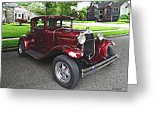 Maroon Vintage Car Greeting Card