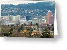 Marquam Bridge By Portland City Skyline Panorama Greeting Card