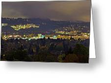 Marquam Hill And Portland Bridges At Night Greeting Card