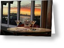 Martini At Sunset Greeting Card