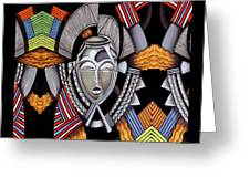 Maruvian Silver Mask Greeting Card