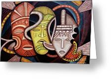 Maruvian Society Masks Greeting Card
