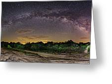 Marveling At The Creation Of God - Milky Way Panorama At Enchanted Rock - Texas Hill Country Greeting Card