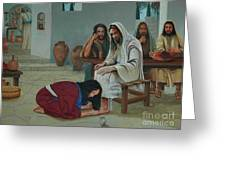 Mary Anoints The Feet Of Jesus Greeting Card