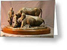 Mary Feilding Smith Praying For Her Ox Bronze Sculpture Greeting Card