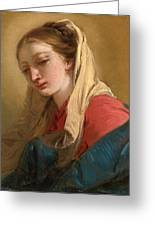 Mary Magdalene In Three-quarter View Veiled In A White Cloth Greeting Card