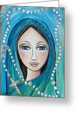Mary With White Rosary Beads Greeting Card
