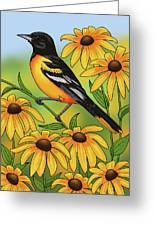 Maryland State Bird Oriole And Daisy Flower Greeting Card by Crista Forest