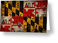 Maryland State Flag Recycled Vintage License Plate Art Greeting Card
