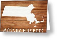 Massachusetts Rustic Map On Wood Greeting Card