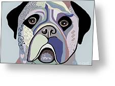 Mastiff In Denim Colors Greeting Card