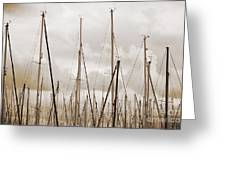 Masts In Sepia Greeting Card