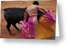 Matador And Bull Greeting Card