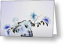 Math Flowers In Blue 2 Greeting Card
