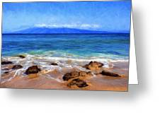 Maui Beach And View Of Lanai Greeting Card