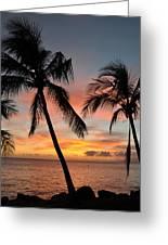 Maui Sunset Palms Greeting Card
