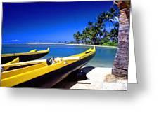 Maunalua Bay Outrigger Canoe Greeting Card