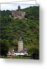 Maus Castle Over Village Greeting Card