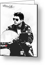 Maverick, Top Gun, Kawasaki Ninja 900, F - 14a Tom Cat, Tom Cruise Greeting Card