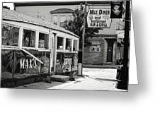 Max's Diner New Jersey Black And White Greeting Card