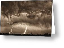 May Showers - Lightning Thunderstorm Sepia Hdr Greeting Card