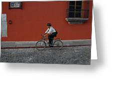 Mayan On Bike Greeting Card