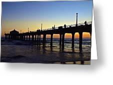 Mb Pier Sunset Greeting Card