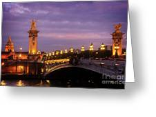 Bridge Of Alexandre IIi At Night Greeting Card