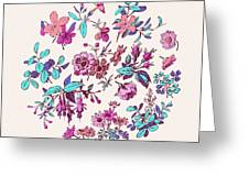 Meadow Flower And Leaf Wreath Isolated On Pink, Circle Doodle Fl Greeting Card