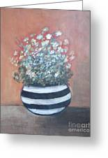 Meadow Flowers In Striped Vase  Greeting Card