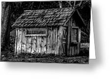 Meadow Shelter - Bw Greeting Card
