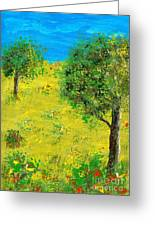 Meadow With Trees Greeting Card