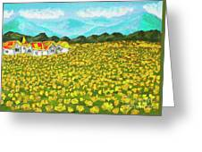 Meadow With Yellow Dandelions, Oil Painting Greeting Card