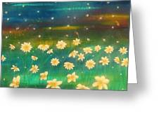 Meadows And Fireflies Greeting Card